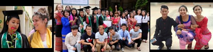 Lucy et sa marraine venue pour l'occasion - Tous les diplômés réunis - Tang Ja, Hellen et Thida ©EnfantsduMékong