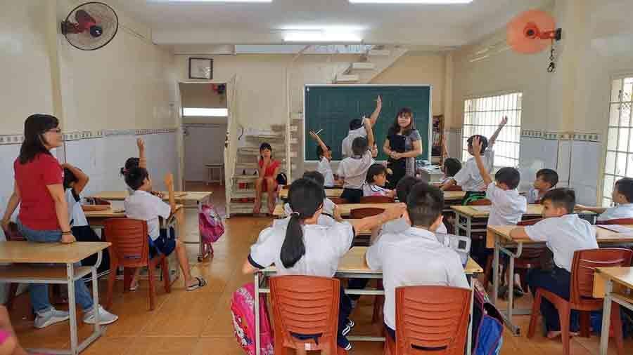 Les élèves en plein cours ! ©Enfants du Mékong