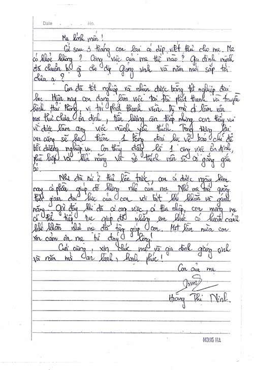 Une lettre de Ninh à sa marraine, Madame Danièle
