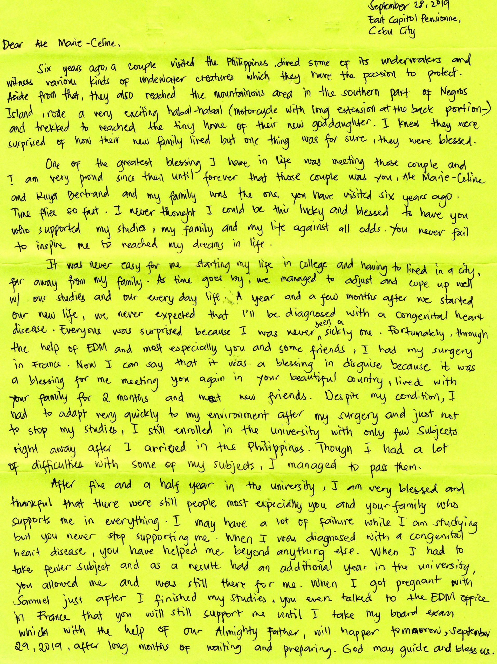 Lettre de Raiza, filleule philippine