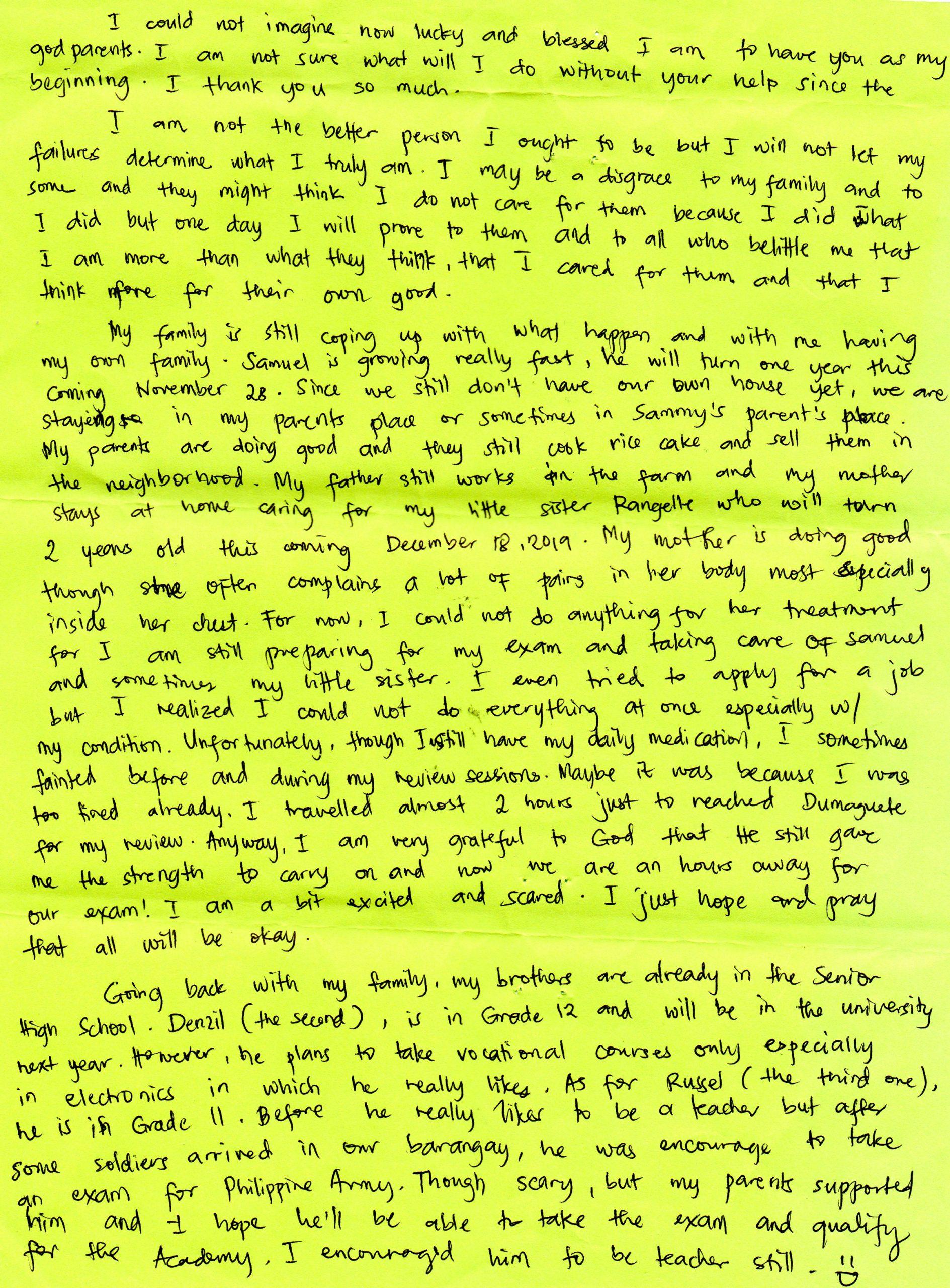 Suite lettre de Riaza, filleule philippine