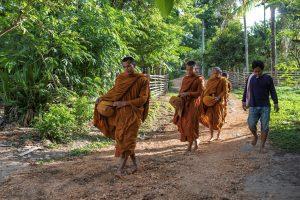 En Thailande, les moines mendient leur nourriture. L'impératif de pauvreté prend le pas sur les interdits alimentaires ils mangent ce qu'on leur donne
