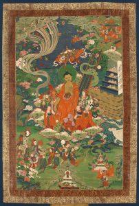 Descente du ciel des 33 dieux, dans l'attitude de la marche